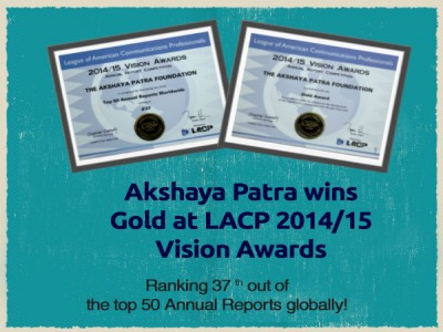 Akshaya Patra wins Gold at LACP 2014/15 Vision Awards