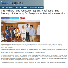 The Akshaya Patra Foundation appoints Chef Ramasamy Selvaraju of Vivanta by Taj, Bengaluru its Goodwill Ambassador