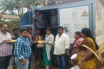 Akshaya Patra's flood relief service in Coorg